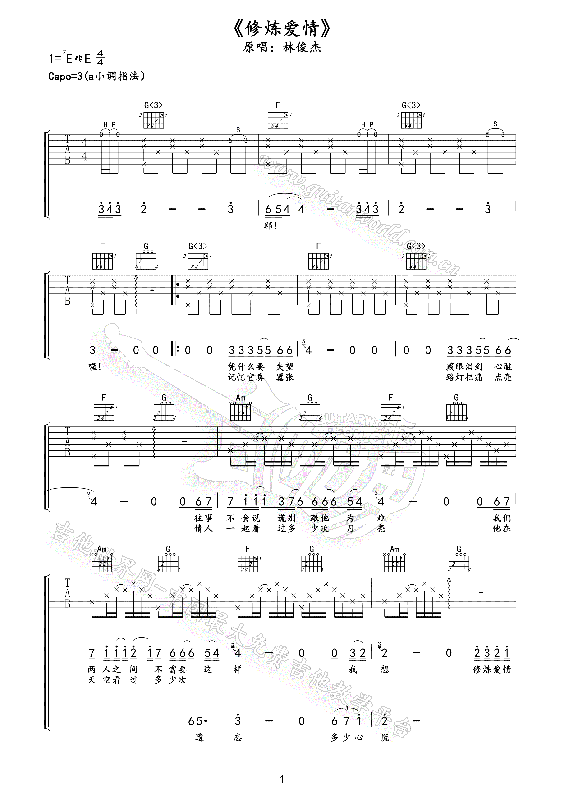 I Love You Guitar Tab  Bodyguard  Tab And Chord